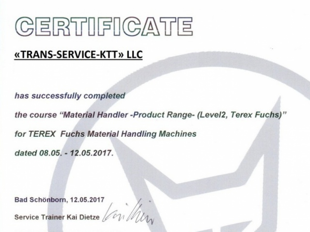 Specialists of Trans-Service-KTT took part in the training Level 2 (Level 2 Terex Fuchs)